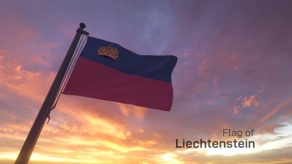 Liechtenstein Flag on a Flagpole V3