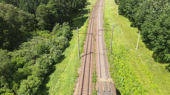 Thumbnail for Passenger train on the Rails. Following The Train, Aerial