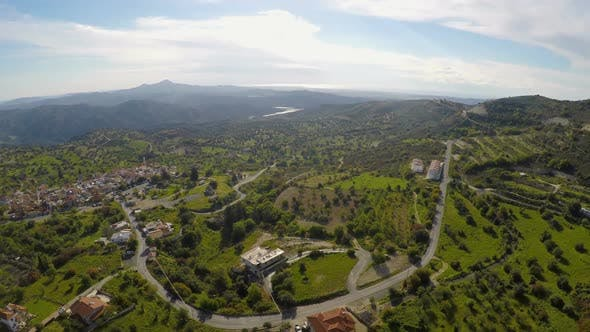 Thumbnail for Nice Mountain Village, Green Landscape and Olive Gardens in Cyprus, Aerial View