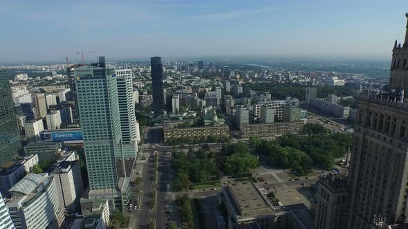 Aerial view of skyscrapers in Parade Square
