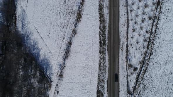 Thumbnail for Aerial View Driving Car On A Road