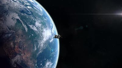 Futuristic Spaceship Entering Planet Earth Orbit