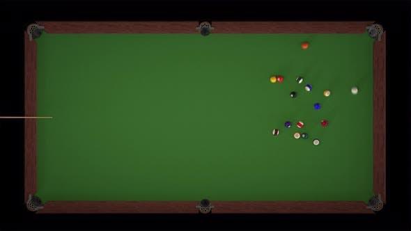 Starting Shot of a Billiard Game Top Views