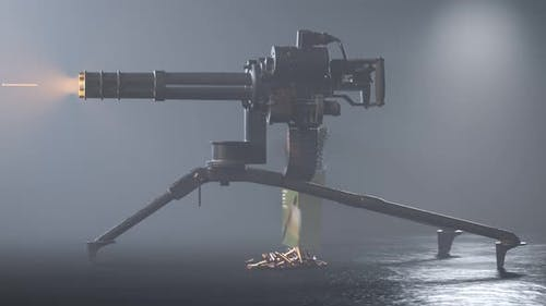 Minigun firing to the invisible target. Deadly firearm rapidly shooting bullets.