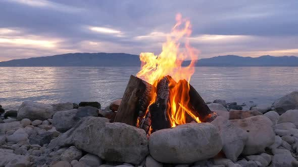 Thumbnail for View of campfire on side of lake