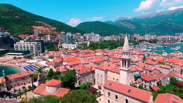 Mediterranean Old Fortress Town Center Drone View