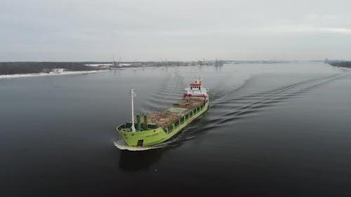 Bulker ship on the river