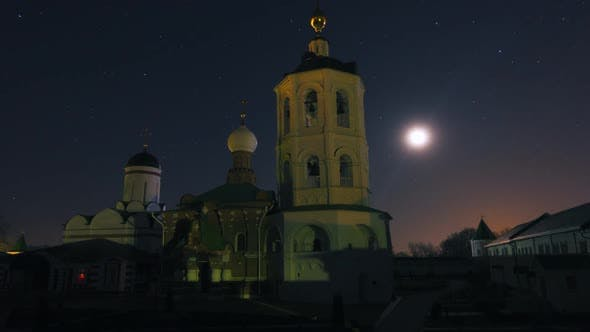 Ancient Russian Monastery at Night, Qualitative Time Lapse, No Flicker.
