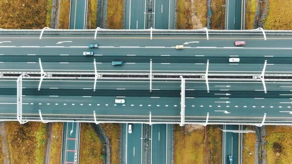 Thumbnail for Intersecting Freeways and Wide Overpass Highways Aerial View