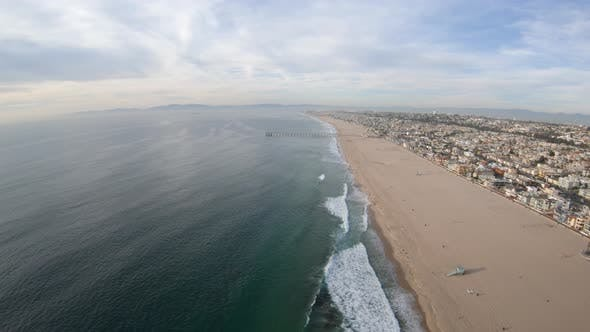 Thumbnail for Hermosa Beach California Aerial View Flying Above Coastline