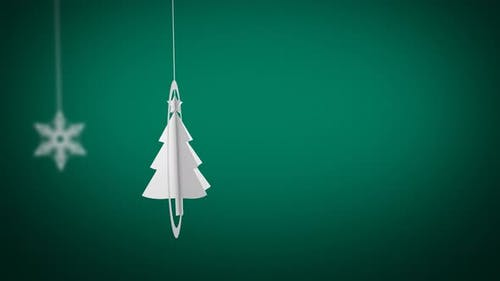 Paper Craft Christmas Tree Swinging Background Looped