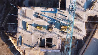 Workers On Construction Site Aerial