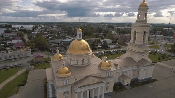 Thumbnail for Aerial view of the beautiful white church