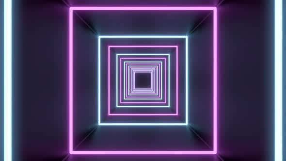 Thumbnail for Square Tunnel Loop of Abstract Neon Lights Passing in Front of the Screen