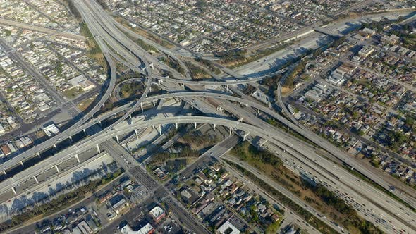 Cover Image for Drone Footage. Complex Scenic Los Angeles Highway Junction. Bird-eye View.
