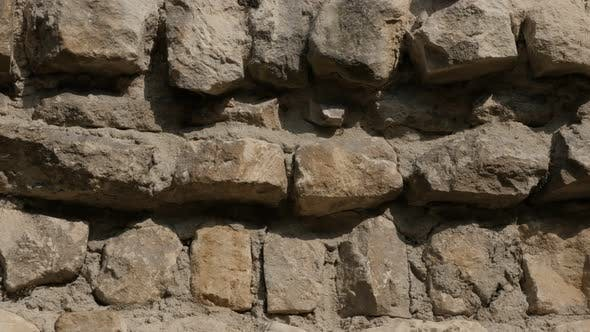 Wall thickness of ancient castle protecting  rampart with lot of rock levels 4K 2160p 30fps UltraHD