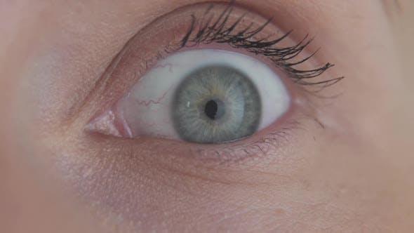 Thumbnail for Close Up Beautiful Blue Eye Opening Human Iris Macro Natural Beauty