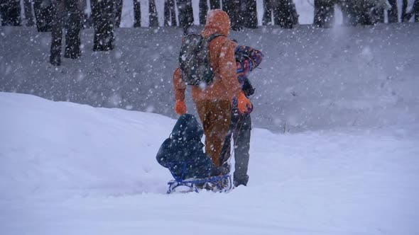 Thumbnail for Family of Dad, Mom, Little Son and Daughter Riding on a Sled in a Pine Forest in Snowfall