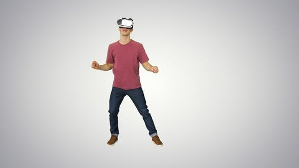 Thumbnail for Casual man in VR glasses dancing playing video game Beginners