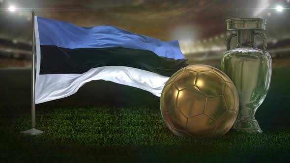 Estonia Flag With Football And Cup Background Loop