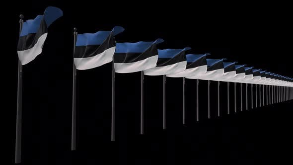 Row Of Estonia Flags With Alpha 2K