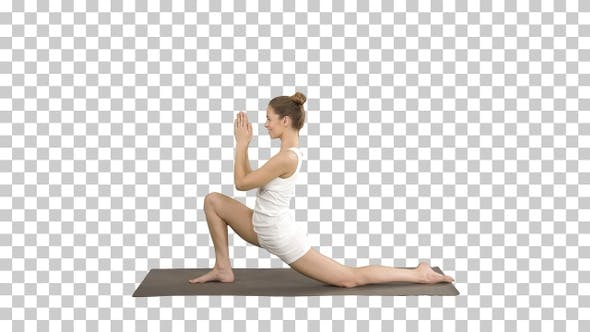 Thumbnail for Sporty attractive girl practicing yoga standing in Horse rider
