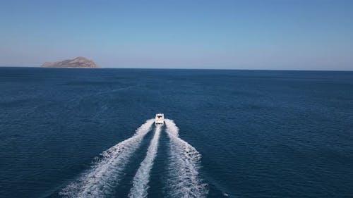 Speedboat Sea Island Sparkling Aerial