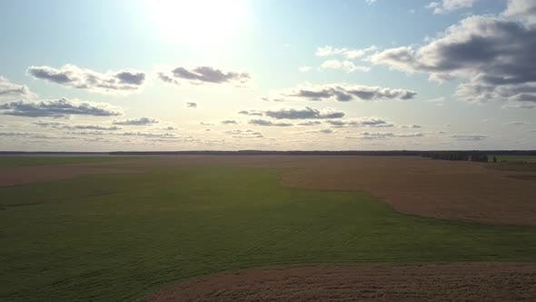 Thumbnail for Bird Eye View Bright Sun Shines Over Green and Brown Field