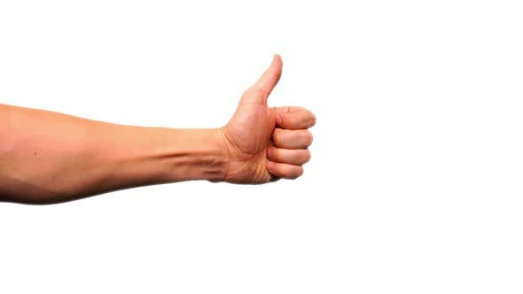 Thumbs Up Gesture On White background