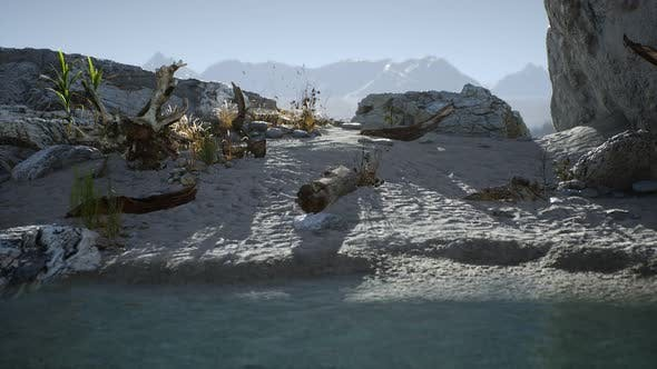 Thumbnail for White Sand Beach Near Rocky Cliffs at Ocean