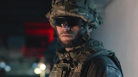 Thumbnail for Bearded Soldier in Dark Corridor