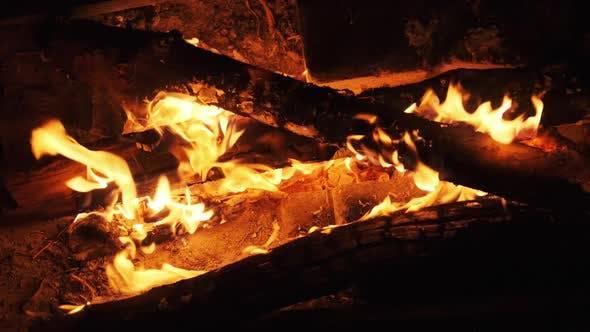 Bonfire Burning at Night in Slow Motion. Flames of Campfire at Nature