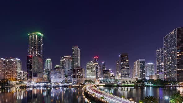 Thumbnail for Night time lapse of the skyline of Miami Florida