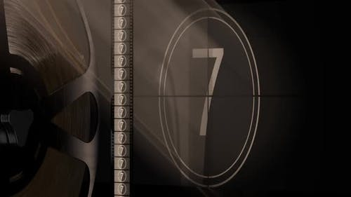 Projector Film and Cinema Screen with Film Reel and Retro Style Countdown