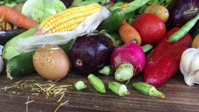 Tracking Shot Of Fresh Organic Vegetables