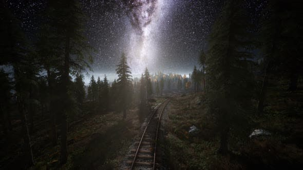 Thumbnail for The Milky Way Above the Railway and Forest