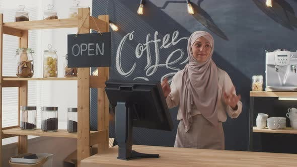 Thumbnail for Muslim Coffee Seller Dancing At Workplace