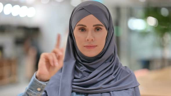 Thumbnail for Arab Woman No Sign By Finger Gesture, Deny