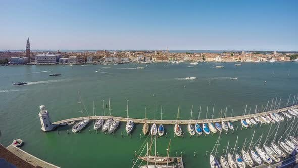 Thumbnail for Many Boats Moored Near Lighthouse at Grand Canal, Venice Cityscape, Time Lapse