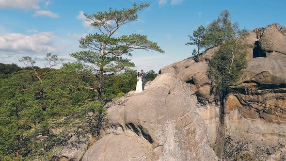 Thumbnail for Wedding Couple in Mountain Rock From Drone. Aerial View Happy Newlyweds in Love Hugging Standing on