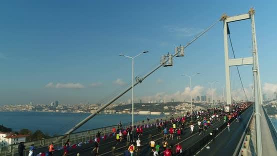 Thumbnail for Istanbul Bosphorus Bridge Eurasia Marathon Aerial View