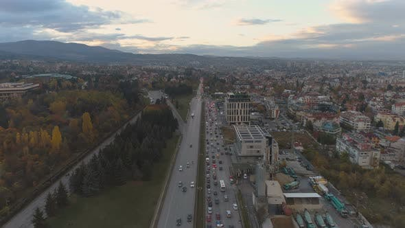 Panoramic View of Rush Hour at the Entrance of Sofia, Bulgaria