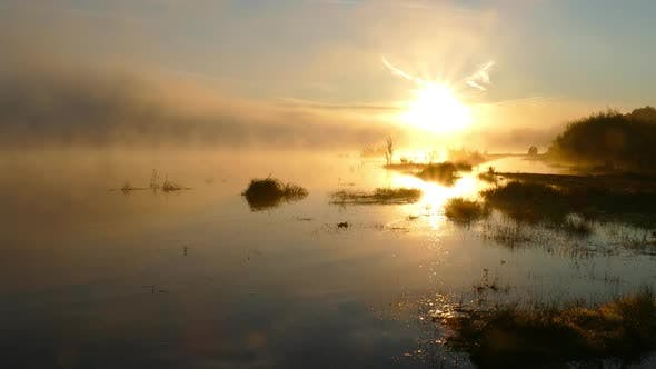 Thumbnail for Landscape with Sunrise on River in Fog
