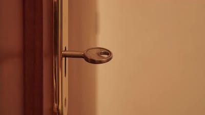 Key Turns in the Door Lock