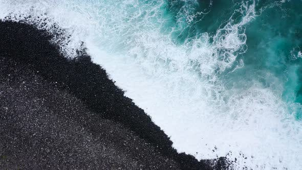 Thumbnail for Top View of a Deserted Black Volcanic Beach. Coast of the Island of Tenerife. Aerial Drone Footage
