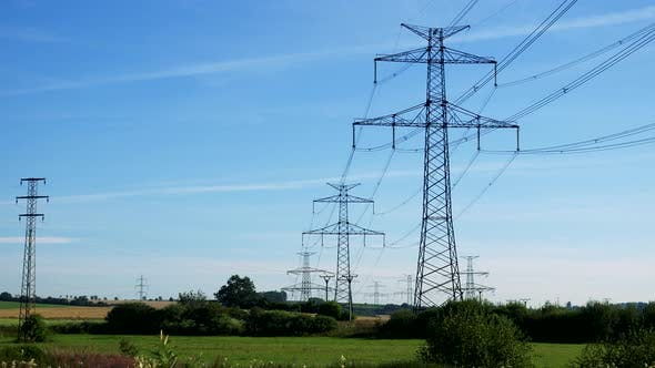 Thumbnail for Power Lines in Countryside - Blue Sky