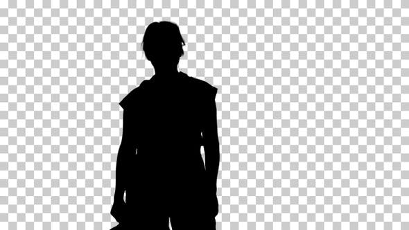Thumbnail for Silhouette Tired female worker, Alpha Channel