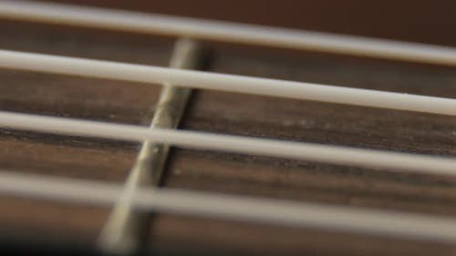 Ukulele Neck Fingerboard and Strings Closeup Shot
