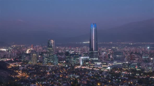 Thumbnail for The Santiago City skyline from Day to Night