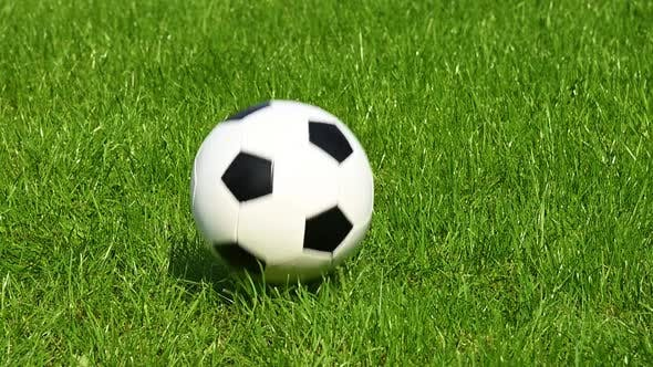 Thumbnail for Football ball bouncing on green grass field
